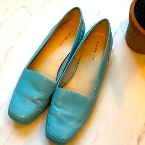 BANDOLINO-Turquoise Blue Leather VTG Loafers-9.5